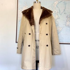 Vintage Fur Lined Collared Trench Coat